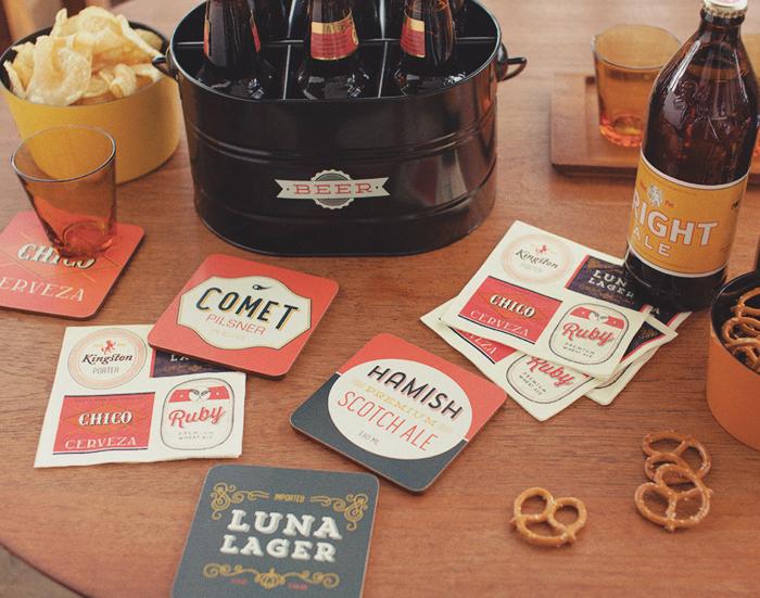 beer labels coasters